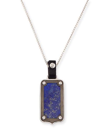 Men's Leather-Pendant Necklace, Blue