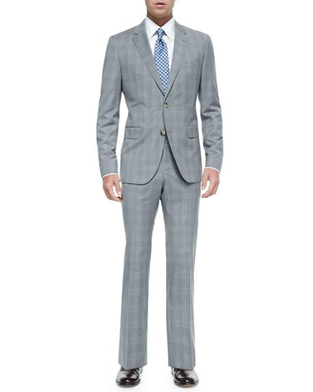 hugo plaid two suit gray blue