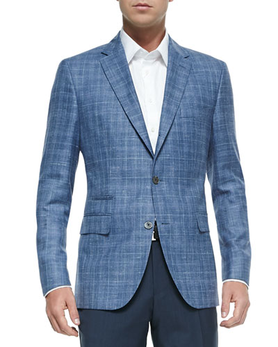 Plaid Two-Button Jacket, Blue