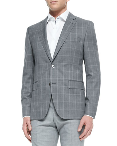 Windowpane Two-Button Suit Jacket, Gray