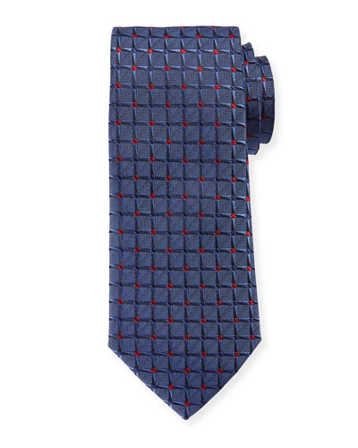 Large Dotted Grid Box-Pattern Tie, Blue