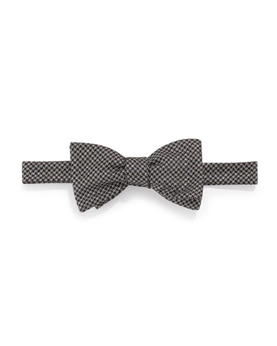 Glitter-Check Bow Tie, Black