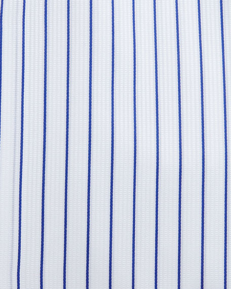 French Cuff Striped Woven Dress Shirt, White/Blue