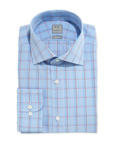 Glen Plaid Dress Shirt, Light Blue/Red