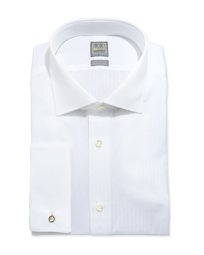 White-On-White Tonal Stripe Dress Shirt