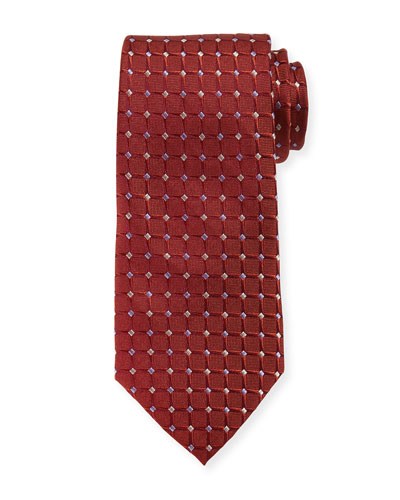 Dotted Grid-Box Tie, Red