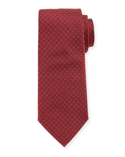 Textured Micro-Box Neat Tie, Red