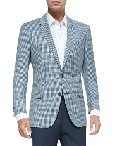 Mini-Check Two-Button Wool Sport Jacket