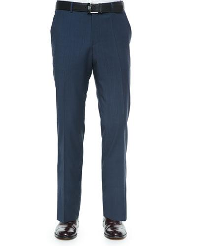 Tonal Check Dress Pants, Navy