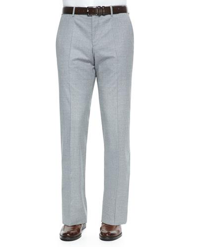 Wool Flat-Front Pants, Gray