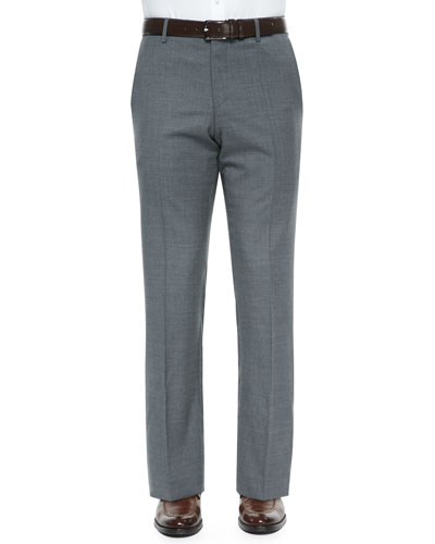 Flat-Front Wool Trousers, Mid Gray
