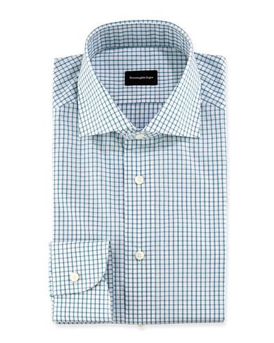 Box Check Woven Dress Shirt, White/Green