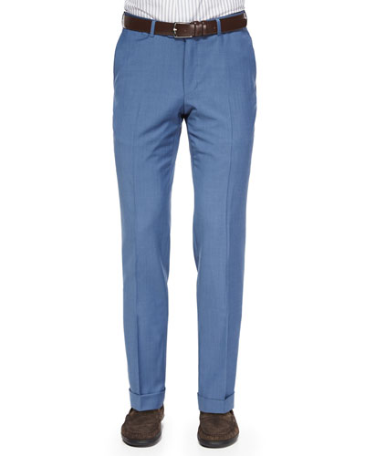 Trofeo Wool Flat-Front Trousers, Blue