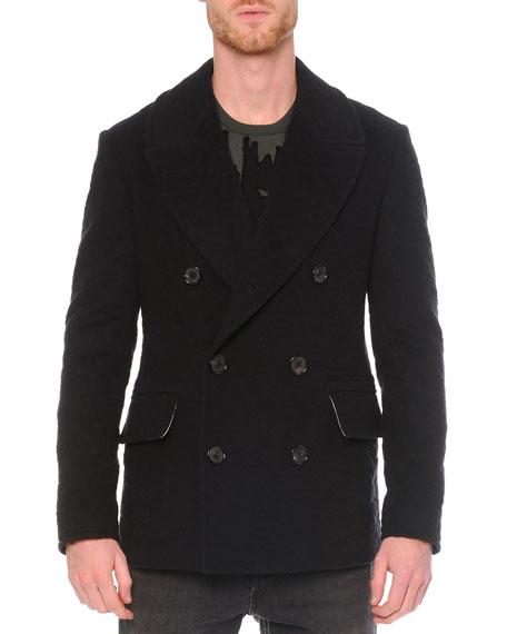 Alexander McQueen Leopard Jacquard Wool Peacoat, Black