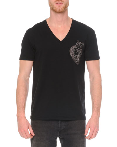 Embroidered Heart V-Neck Tee, Black