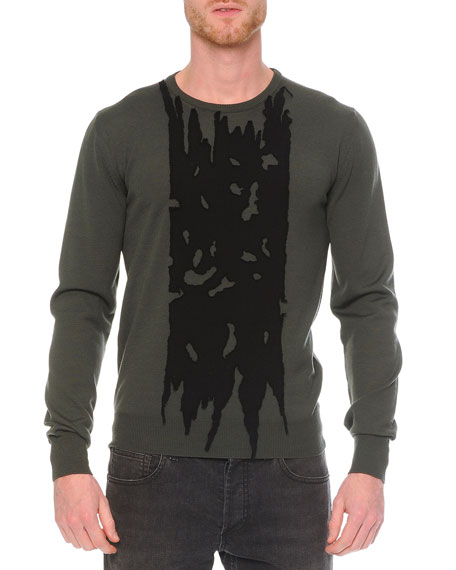 Alexander McQueen Printed Crew Neck Sweater, Green