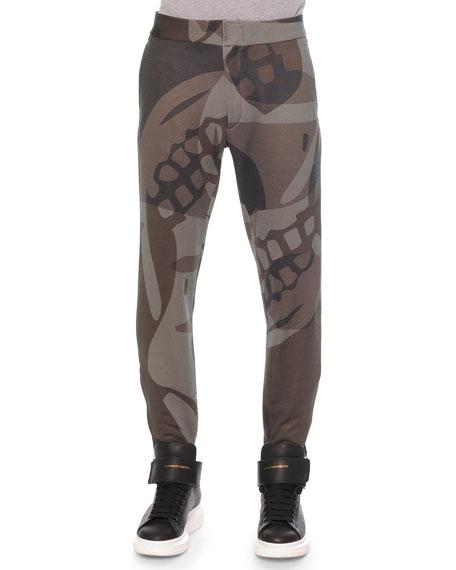 Alexander McQueen Woven Camo-Print Sweatpants, Green