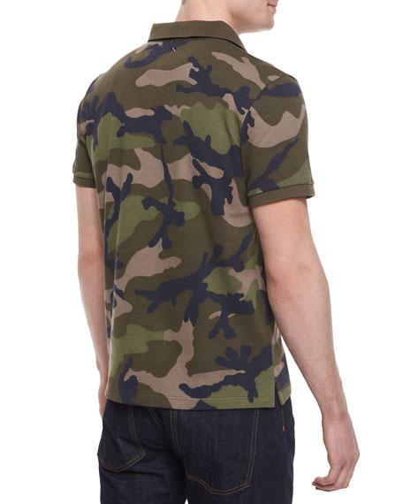 Valentino Camo-Print Pique Polo Shirt, Green
