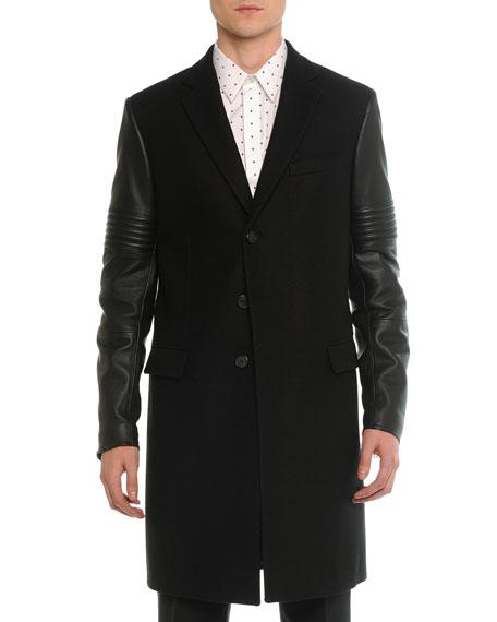 Givenchy Wool & Leather Moto Long Coat, Black