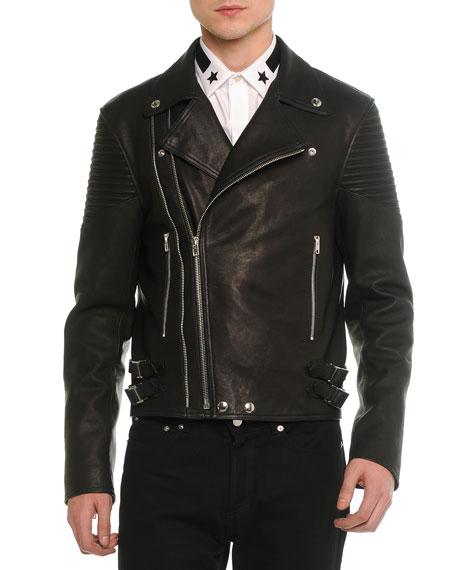 Givenchy Asymmetric Leather Moto Jacket, Black