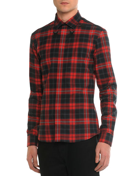 Givenchy Plaid Woven Shirt with Star-Detail, Red