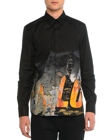 Givenchy Digital-Print Love Long-Sleeve Shirt, Black