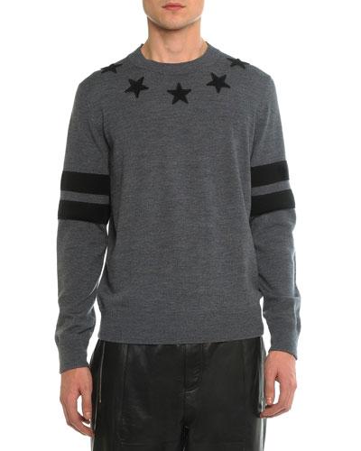 Crew-Neck Star Sweatshirt, Gray
