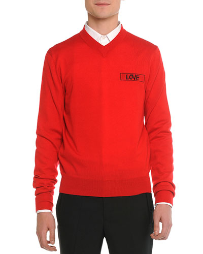 Love V-Neck Sweater, Red