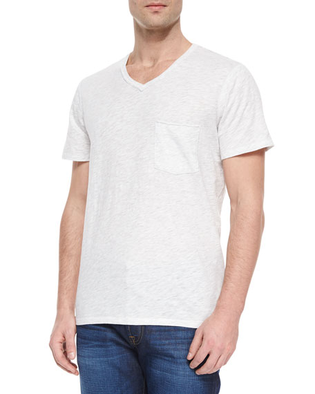 7 For All Mankind Raw-Edge V-Neck T-Shirt, White