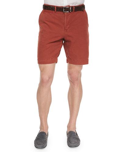 Wynn Triple-Washed Chino Shorts, Medium Red