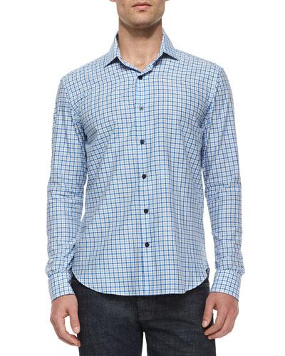 Tattersall Woven Long-Sleeve Shirt, Blue