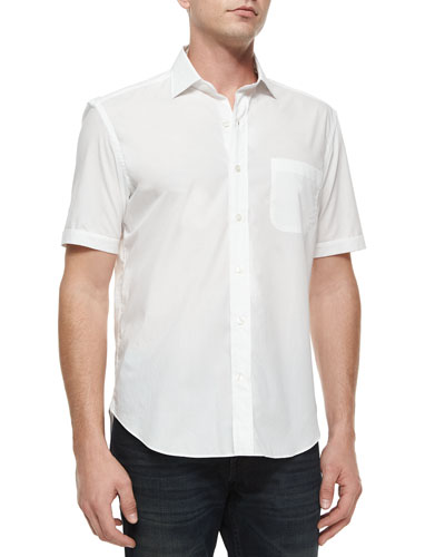 Solid Short-Sleeve Sport Shirt, White