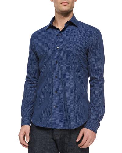 Mini-Dot Print Long-Sleeve Shirt, Navy
