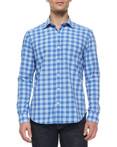 Large Check-Print Long-Sleeve Shirt, Blue