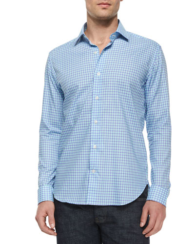Gingham Woven Long-Sleeve Shirt, Blue