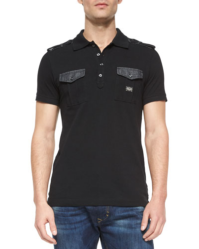 Angi Chambray-Trim Polo Shirt, Black