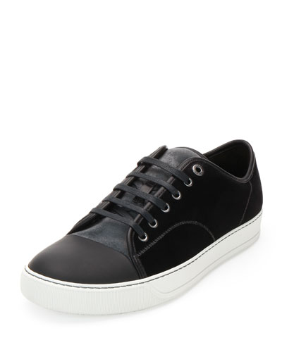 Velvet Captoe Low-Top Shoe, Gray