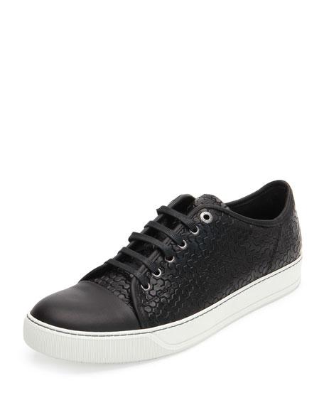 LanvinCaptoe Honeycomb-Print Shoe, Black