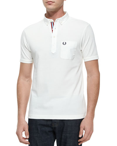 Tape-Tipped Short-Sleeve Polo Shirt, White