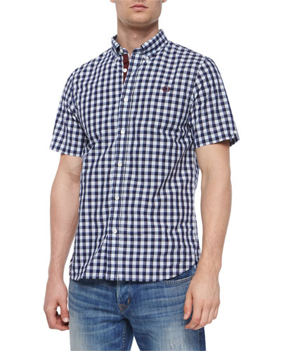 Gingham Short-Sleeve Woven Shirt, Blue Pattern