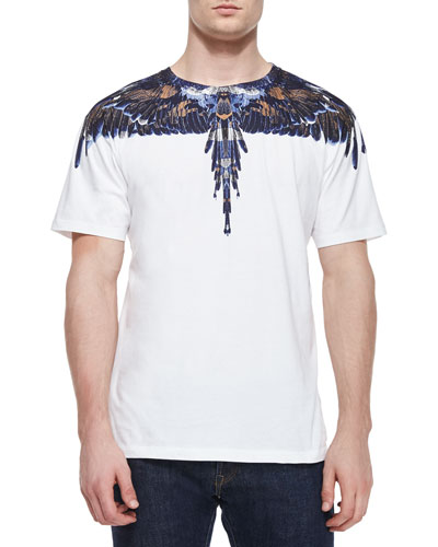 Blue Wings Graphic Tee, White