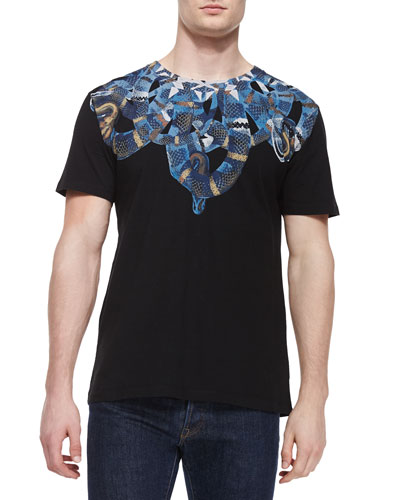 Snake-Print Graphic Tee, Black