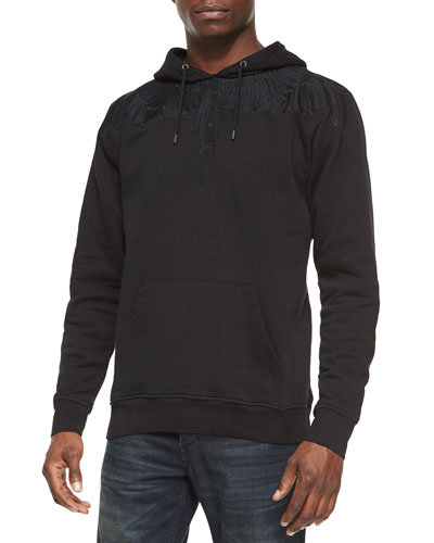 Tonal Feather Graphic Hoodie, Black
