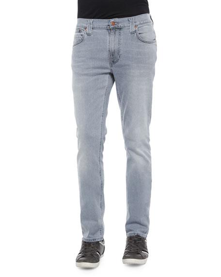 Nudie Thin Finn Pale Lead Washed Denim Jeans,