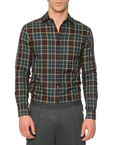 Long-Sleeve Plaid Sport Shirt, Medium Green
