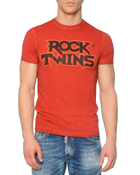 Dsquared2 Red Rock Twins-Printed Tee, Red