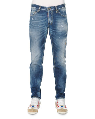 Slim-Fit Distressed Jeans, Light Wash
