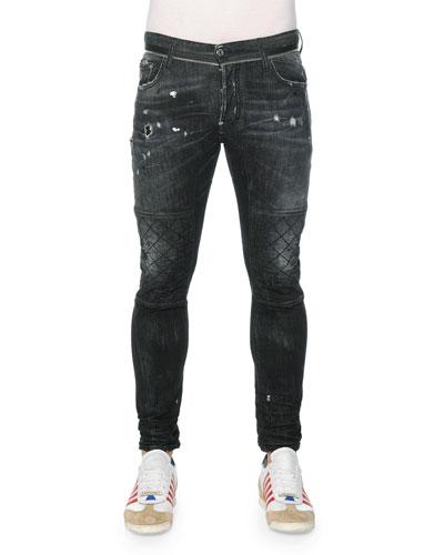 Distressed Slim Moto Denim Jeans, Black