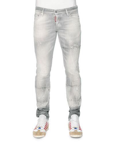 Slim-Fit Distressed Denim Jeans, Light Gray