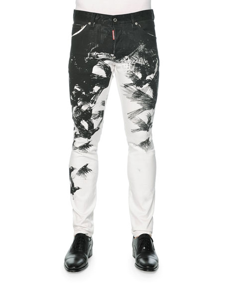 Dsquared2 Cool Guy Crow-Print Skinny Jeans, Black/White